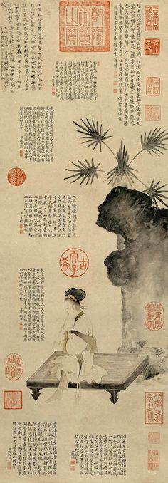 """元代 - 趙孟頫 - 吹簫仕女圖                     Zhao Mengfu, 1254 - 1322, Yuan Dynasty  The Chinese artist Zhao Mengfu was a famous calligrapher and painter of the Yuan Dynasty (1260-1368 CE). He wrote """"The Preface to Seal History,"""" an early work on seals."""
