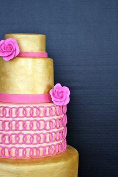 Elegant Modern Vintage Gold Pink Round Wedding Cakes Photos & Pictures - WeddingWire.com