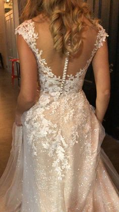 Wedding dress Enn by Olivia Bottega. A-line elegant wedding dress. Made of Exclusive glitter fabric Custom Wedding Dress, Elegant Wedding Dress, Custom Dresses, Dress Wedding, Wedding Bride, Wedding Dress Sparkle, Whimsical Wedding, Applique Wedding Dress, Backless Wedding
