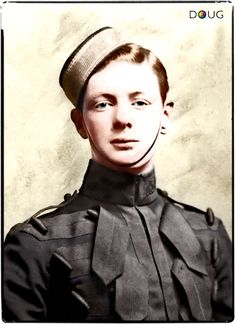 Young Winston Churchill, 4th Queen's Own Hussars 1895 (digitally colourised)