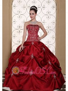 6bf09622225 Embroidery in Wine Red Taffeta Pick-ups Strapless Modest Quinceanera Dress  in New York http
