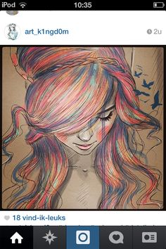 Drawing girl colored hair