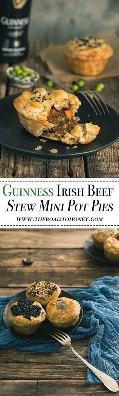 Guinness Irish Beef Stew Mini Pot Pies Guinness Irish Beef Stew Mini Pot Pies - Guiness Irish Beef Stew is a comforting pub classic. We've elevated the comfort level even further by placing it in a buttery, flaky crust. Irish Recipes, Beef Recipes, Cooking Recipes, Russian Recipes, Curry Recipes, Recipies, Vegan Recipes, Mini Pot Pies, Irish Beef
