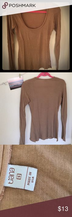 Tan Long Sleeve Light brown/tan long sleeve. Light material and crew neck, great for layered outfits or warm fall days! Washed once, no sign of wear.                                  💋offers welcome! If you don't ask I can't answer😊💋 Tiana Tops Tees - Long Sleeve