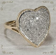 Huge 1.38ctw Twinkling Natural Diamond Heart 14k Plumb Gold Ring found on Ruby Lane