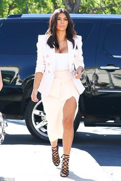 85b52bf7cadf4 Gladiator Heels, Bodysuit With Skirt, White Bodysuit, Kardashian Fashion,  Kim Kardashian Blazer