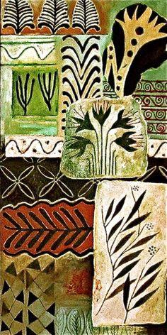 Ancient mediterranean motifs, oil on canvas board by Sophie Munns 2001
