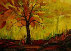Drzewko szczęścia z siedmioma jabłuszkami, 50x70,olej