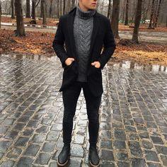 #turtleneck and black #coat by @lukasscepanik7 [ http://ift.tt/1f8LY65 ]