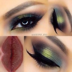 Dark green eyeshadow will make your eyes stand out and appear vibrant. Dark red lip actually brings out brown eyes.