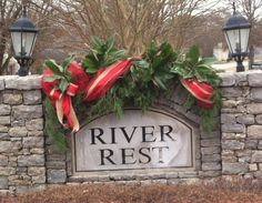 Christmas Decoration Neighborhood Entrance - Welcome folks for the holidays with Magnolia, Greenery, Red Deco Mesh, Burlap & Red Ribbon.