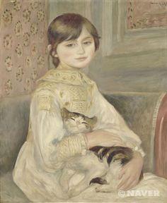 오퀴스트 르누아르<고양이를 안고 있는 아이> 1887년 유화 65.5*53.5cm 오르세 미술관  작품해설 : 르누아르는 이 초상화를 그리면서 새로운 기법을 찾아내는데 몰두했다.데셍의 정확성과 서서히 엷어지는 색조의 조화, 캔버스 표면의 일부가 도자기처럼 깨끗한 점을 통해 그가 얼마나 심혈을 기울였는지 짐작하게 해 주는 그림이다. 그러나 드가는  인물의 얼굴을 지나치게 둥글게 표현한 나머지 마치 꽃병을 그려 놓은 것 같다라며 신랄한 비평을 한 그림.  감상평 : 초상화라는 점에서 고양이는 당시 그저 소녀가 데리고 있었기 때문에 같이 그려진 것으로 보이나 고양이의 표정이 소녀가 행복해 하고 사랑 받고 있다는 점을 보다 확실하게 느낄 수 있도록 해주는 것 같다. 개인적으로는 드가의 말처럼 앵그르 기법으로 그려져 지나치게 얼굴이 둥근 소녀보다 고양이가 더 앙증맞고 시선이 가는 작품이다.