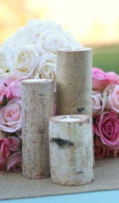 Birch Candles Rustic Wedding Decor by braggingbags on Etsy