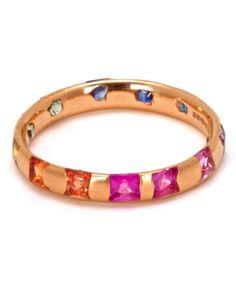 Yellow Gold Princess Cut Rainbow Sapphire Ring
