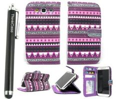 Amazon.com: ThinkCase Tribal Design PU leather Wallet PU Leather Case Card Holder Flip Case Cover for Samsung i9300 Galaxy S3 III Purple Pink with ThinkCase Stylus Pen: Cell Phones & Accessories