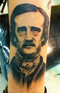 Edgar Allan Poe tattoo!  What a perfect portrait!  by Amy Ross at East Atlanta Tattoo  eastatlantatattoo.com