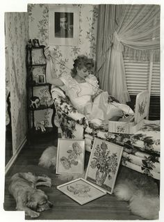 Lucille Ball embroidering at home in 1943