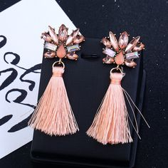 199e54a36d6c Boho Fashion Statement Tassel Earrings for Women Crystal Flower Long Drop  Earrings Indian Jewelry brincos valentines day gift