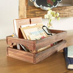 Get organized and store loose items in this DIY trendy, classroom inspired Ruler Wood Crate