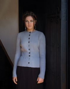 ENCHANTED, ISIS fitted double moss stitch cardigan. Rowan Baby Merino Silk DK/Dawn | Kim Hargreaves