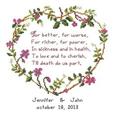 Wedding/Marriage/anniversary/love Counted Cross Stitch Pattern