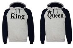 King Queen Hoodie Couple Hooded Sweatshirt Boyfriend Girlfriend Hoodie | eBay