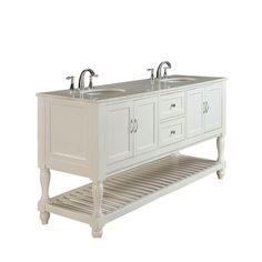 The sophistication of this mission turnleg bathroom vanity set is topped with white marble top Set into the natural stone are double white porcelain under-mount sinks This pearl white finish wood double vanity cabinet features 2 double-door cabinets located on both sides while satin nickel