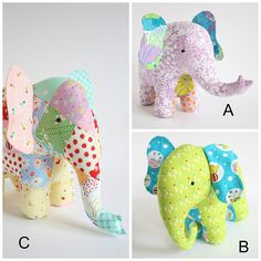 Elephant PDF pattern, elephant sewing PDF, softie pdf pattern, DIY elephant pattern, patchwork elephant, elephant toy pdf , Trunk Show This pattern contains three different style trunks to make your very own elephant friend. Which elephant do you prefer ? Curly trunk, low trunk or raised