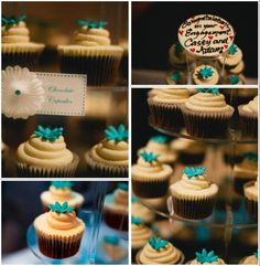 Aqua & white engagement party #cupcake tower