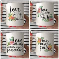 Valentine's Day Mug Set 1 Corinthians 13 от JuneArborDesigns