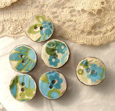 hand made ceramic buttons with vintage decals - Blue Green Ornaments - 6 sew on…