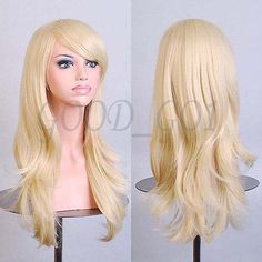 Material: Synthetic Hair Item Type: Wig Length: Long Wigs Type: Cosplay Wigs Cap Size: Medium Net Weight: Style: Wavy Lace Wig Type: None Lace Wigs Size: Style: Anime The Max Size of Hairnet: About Natural Wigs, Natural Hair Styles, Long Hair Styles, Brown To Blonde, Blonde Wig, Dark Brown, Long Hair Wigs, Wavy Hair, Party Hairstyles
