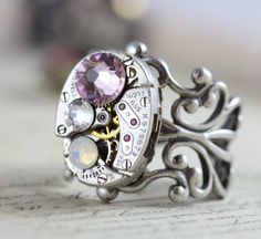 Steampunk Ring Custom Made Birthstone Ring Watch Ring Personalized Mothers Ring Inspired by Elizabeth on Etsy, $45.00