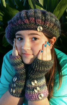 Echoes beret and fingerless gloves. Lovely soft yarn, classic styling.  The perfect set to keep u warm and snuggly. $20 + shipping.  Delta Belle Crochet and More by Brandylin Pensis Www.facebook.com/oneknottyhookercrochet