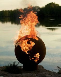 Here's a fire place shaped like a globe that I would like to put in the backyard I don't have.