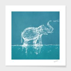 """""""Water Elephant"""", Numbered Edition Fine Art Print by paula belle flores - From $25.00 - Curioos"""