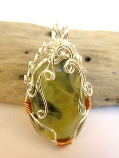 Prehnite Wire Wrapped Pendant in Silver and by PiecesofJayde