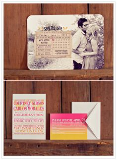 Adorable save the dates and bright ombre invitations