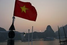 Vietnam Flag in Halong Bay