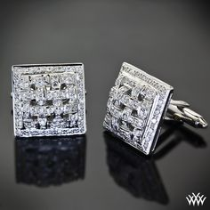 "Dashingly debonair, these ""Diamond Waffle"" Cuff Links are sure to get you noticed.   #Whiteflash"