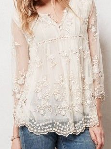 Awesome V Neck Loose Fitting Lace Patchwork Blouses