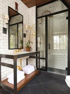 Monochrome and brass bathroom