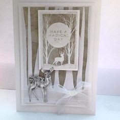 Created by Nicky Gilburt for Craftwork Cards using Frozen Forest collection, the background forest was hand cut with scissors to match the topper, mounted onto a 5x7 inch card