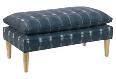 Obsessed with this shibori indigo upholstered bench.