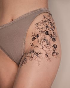 300 Sexy Tattoo Designs - Original by Tattooists Flower Hip Tattoos, Hip Thigh Tattoos, Floral Thigh Tattoos, Hip Tattoos Women, Rose Tattoos, Sexy Tattoos, Mini Tattoos, Body Art Tattoos, Sleeve Tattoos