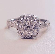 Custom Made Cushion Cut Classic Halo Engagement Ring Premier Designs Jewelry, Custom Jewelry Design, Custom Made Engagement Rings, Halo Engagement, Cushion Cut, Fine Jewelry, Jewels, Crystals, Diamond