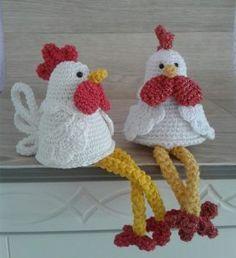 Easter Crochet Patterns, Crochet Crafts, Yarn Crafts, Crochet Projects, Crochet Chicken, Crochet Fish, Knit Crochet, Easter Toys, Easter Crafts