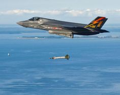 US Marine Corps test pilot Capt. Michael Kingen releases a 500-pound GBU-12 bomb from F-35B test aircraft BF-01 during a weapons separation test over the inshore test area at the Naval Air Warfare Center Aircraft Division test facility NAS Patuxent River, Maryland, on 1 August 2013. This was the 314th flight of BF-01.