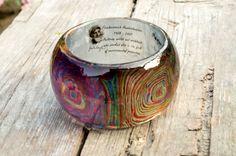 "Resin bracelet Hundertwasser design, spiral hypnotic art ""the great path"", resin…"