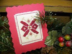 Cross Stitch Card Christmas Flower by FlossFlowersandCraft on Etsy, $4.50